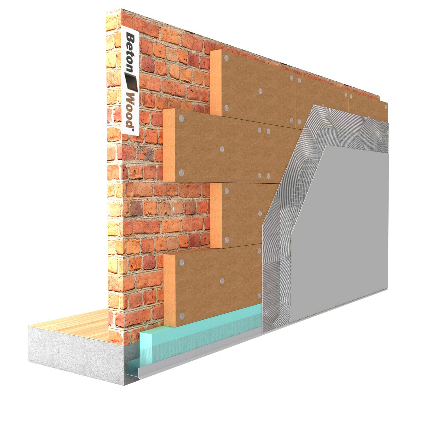 External thermal insulation system in Protect dry Fiber Wood