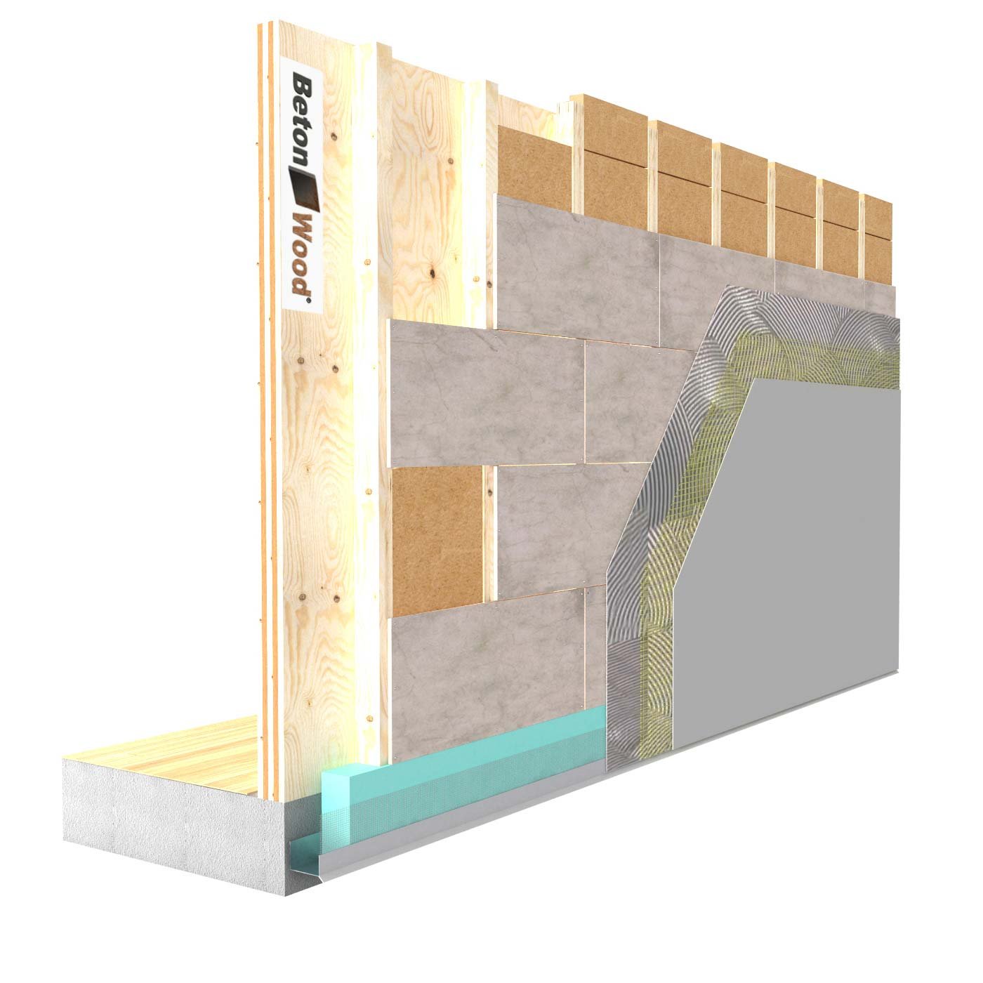External insulation system with Fiber Wood FiberTherm dry and cement bonded particle board on X-Lam