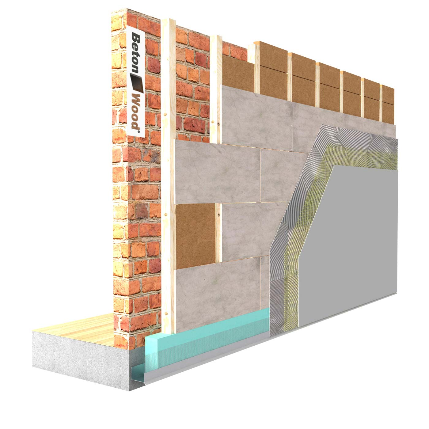 External insulation system with Protect dry fiber wood on masonry