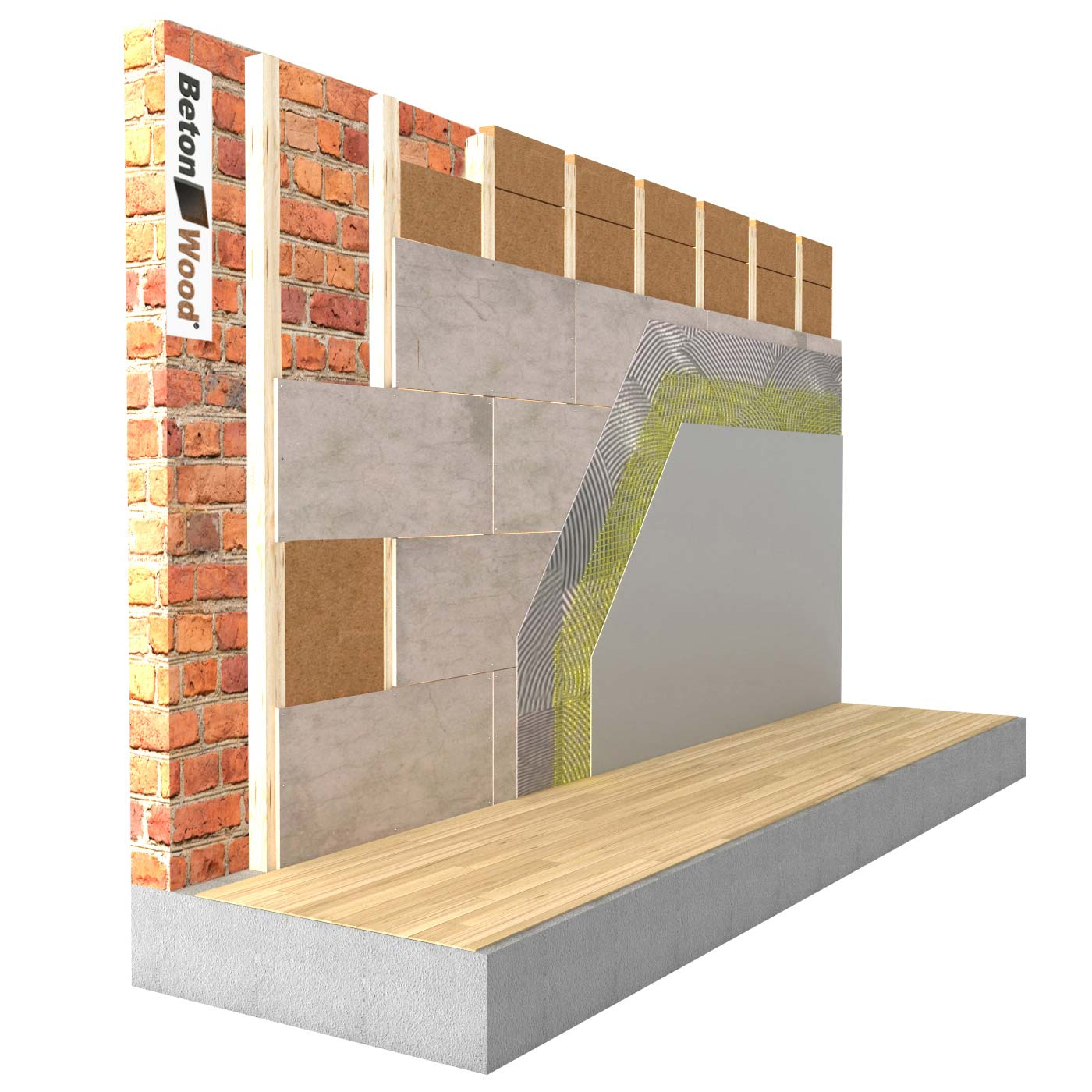 Counterwall insulation in flexible fiber wood Flex on masonry